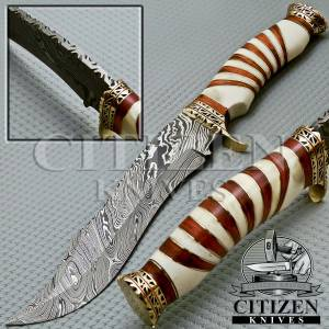 Damascus Hunting Bowie Knife