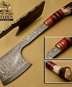 DAMASCUS STEEL AXE CHOPPER KNIFE