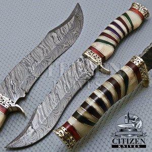 Damascus Steel Hunting Bowie Knives